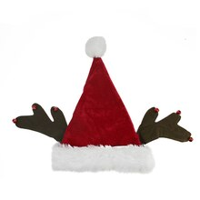 Plush Santa Hat with Antlers & Bell Trim